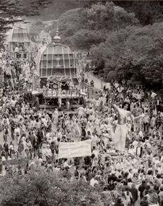 """Summer of Love"" in 1967 Hippie Love-In demonstration, Golden Gate Park SF"