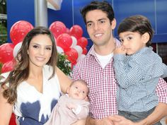 Kaka ( Real Madrid futbol player ) and wife Caroline and their two children. Such a pretty familia
