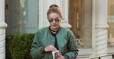 Gigi Hadid in the Green Bomber Jacket and Reebok Track Pant in New York City - Vogue