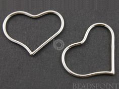 Sterling Silver Heart Component Gorgeous Jewelry by Beadspoint, $6.99