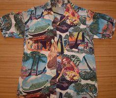 Mens Vintage 50s Hula Palms Rayon Hawaiian Aloha Shirt