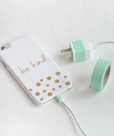 ID Your Tech Chargers | When everyone in the family has the same tech devices, it can be impossible to tell which charger is yours. To avoid accidentally swiping the wrong one, Casey and Bridget from The DIY Playbook got creative and used colorful washi tape to pair each charger with the correct device. Assign each family member a color, then use washi tape to wrap phone chargers, adapters, earbuds, and any other tech accessories.