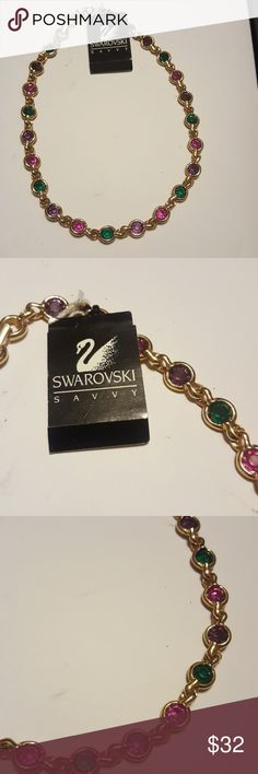 """Swarovski Savvy Choker Multi Color Crystals New with tag still on it multi color stones mounted in gold tone chain choker style 16 1/2"""". Swarovski Jewelry Necklaces"""