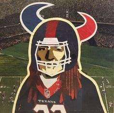 WILLIE AS HOUSTON TEXAN -- 12 x 12in -- Mixed Media on Board -- CONTACT: annegenung@gmail.com
