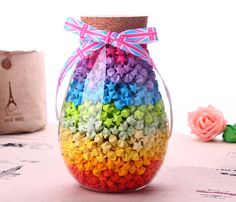 Origami Paper Stars / Colorful Paper Strips / by SprixieCharms -- Link leads to etsy shop to buy paper. But this is a really pretty jar with stars