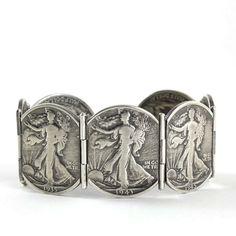 Walking Liberty Half Dollar Hinged Bracelet by Stacey Lee Webber (Silver Bracelet) Coin Jewelry, Metal Jewelry, Vintage Jewelry, Silver Jewelry, Silver Rings, Handmade Jewelry, Unique Jewelry, Silver Bracelets, Jewelry Bracelets