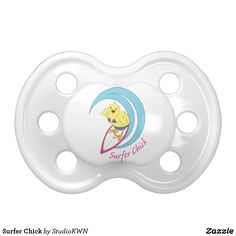 Surfer Chick pacifier designed by StudioKWN. Also available in pink and blue.