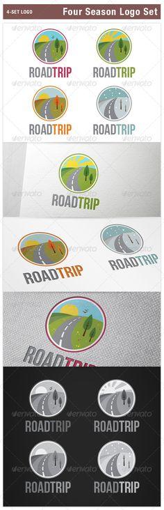 Four Season Logo Set Spring Summer Autumn Winter — Vector EPS #driving #road trip • Available here → https://graphicriver.net/item/four-season-logo-set-spring-summer-autumn-winter/8257686?ref=pxcr