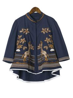 Tribal Embroidery Giraffe Irregular Hem 3/4 Sleeve Stand Collar Tops