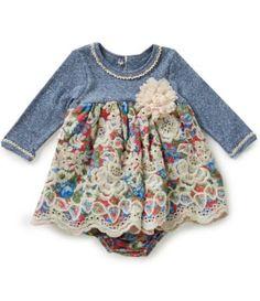 Bonnie Baby Baby Girls Newborn-24 Months Striped Knit to Floral Dress #Dillards