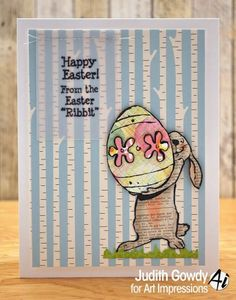 Art Impressions Rubber Stamps Easter > Sm. Bunny and Egg (Sku#H3099) Easter Ribbit (Sku#F4013)