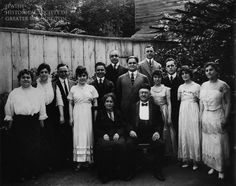 Isaac and Cyril Levy, here with their 12 children in their backyard, opened Levy's Busy Corner department store on 4½ Street, SW, in 1888.  JHSGW Collections. Gift of Marilyn C. Cohen. 1987.07