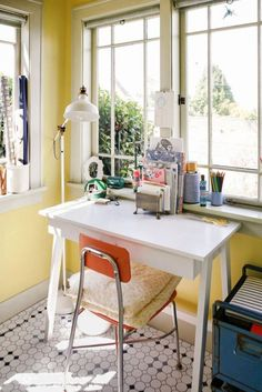 """9 Ways to Make All Your Clutter Look Gorgeous Without Throwing Anything Out: ANY NOOK WILL SUFFICE. """"Desks are like benches: They can go anywhere,"""" says Soria. Placing one in front of a light-filled window might just inspire you to tackle that to-do list. And when a desk is in a high-traffic area, add personal touches like your favorite floor lamp or some fun cushions."""