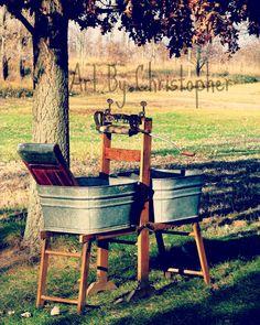 The Old Way, washboard, tub, washing, washtub, washing machine, ringer, laundry, old, metal ,color, 8x10,fine art photography