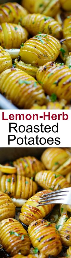 #thanksgiving #sidedish Lemon Herb Roasted Potatoes – BEST roasted potatoes you'll ever make, loaded with butter, lemon, garlic and herb. 15 mins active time! | rasamalaysia.com