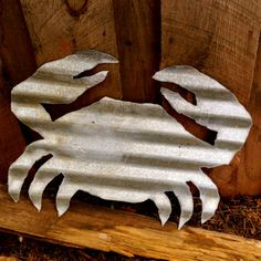 Vintage Corrugated Tin LARGE CRAB by SnowValleyTrader on Etsy