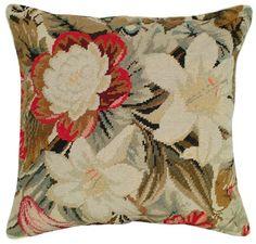 Ophelia Floral Needlepoint Pillow II LARGE - Needlepoint Pillows