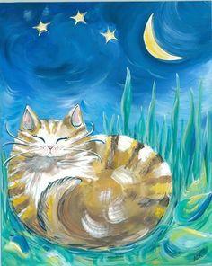 Cat Painting Fine Art Print tiger kitty stars by BlueSeaPaintShop