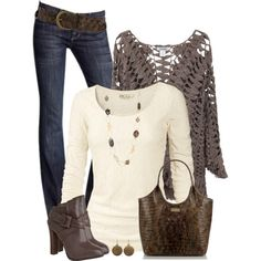 Stitch Fix Stylist. Must have. LOVE this all from the jeans to the cream to the see through sweater.. Very cute and a fun go out look. by daiscat on Polyvore