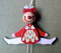 folk wooden painted pull toy Doll by inthegan on Etsy, $32.00