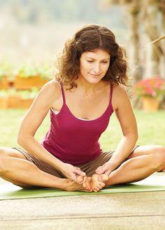 Step-by-step instructions for bound angle pose (Baddha Konasana)