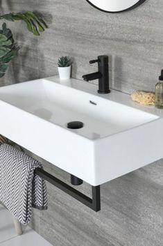 Wooden Bathroom Vanity, Square Bathroom Sink, Bathroom Basin Taps, Small Bathroom Sinks, Modern Bathrooms, Basin Sink, Modern Bathroom Design, Black Towel Rail, Black Towels