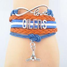 Infinity Love Edmonton Oilers Hockey Bracelet BOGO Love Bracelets, Friendship Bracelets, Hockey Crafts, Nhl News, Infinity Love, Edmonton Oilers, Ice Hockey, Sport Wear, Blue Orange