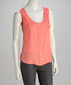Take a look at this Peach Sleeveless Button-Up by AntiliaFemme on #zulily today!