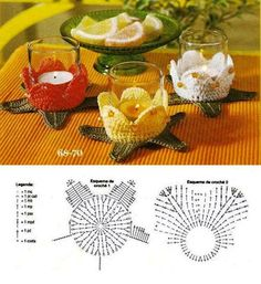 Teelichthalter, gehäkelt ♥ Crochet candle holders with diagramVotive cup or tea light crochet pattern diagram.Hello friends of free crochet. See this different point in crochet to create a charming port candles to decorate your room and even your Crochet Motifs, Crochet Potholders, Crochet Diagram, Crochet Chart, Crochet Doilies, Crochet Flowers, Crochet Patterns, Crochet Kitchen, Crochet Home