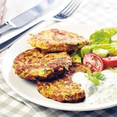 Kasvispihvit ja jogurttikastike | Maku Easy Healthy Recipes, Veggie Recipes, Healthy Cooking, Wine Recipes, Vegetarian Recipes, Easy Meals, Healthy Eating, Cooking Recipes, Quinoa
