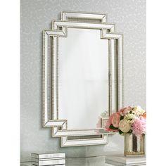 "Erte Openwork Silver Beaded 27""x39 1/2"" Wall Mirror - #8J249 | Lamps Plus"