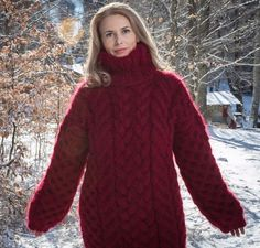 THICK Mohair Sweater Turtleneck Pullover Mohair Top L/XL Hand Knitted by Tangles
