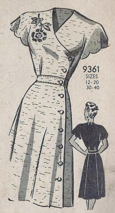 1940s Misses Dress Vintage Sewing Pattern. Yet another vintage pattern we adore! Check out our vintage patterns online: www.farmhousefabrics.com