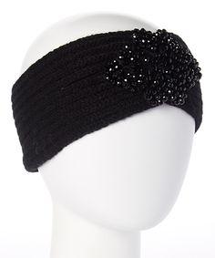 Loving this Betsey Johnson Black Floral Rhinestone Headband on #zulily! #zulilyfinds