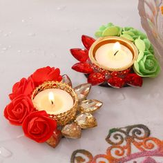 Home Candles, Tea Light Candles, Tea Lights, Diwali Diya, Diwali Craft, Diya Designs, Thali Decoration Ideas, Diwali Decorations At Home, Acrylic Rangoli