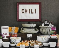 chili bar--brilliant for a Fall party - have I pinned this? Our guide shows exactly how to set up a chili bar with all the fixings. A great party idea for fall including a chili recipe for easy entertaining at home. Super Bowl Party, Burger Bar, Sandwich Bar, Planning Menu, Party Planning, Fingers Food, Sangria Bar, Table D Hote, Pumpkin Carving Party