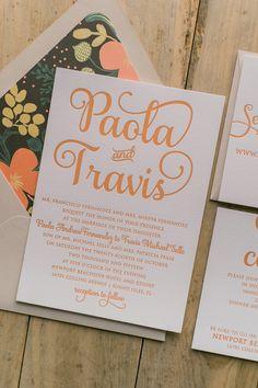 ADELE Suite Floral Package, coral, green, orange, bright floral wedding invitations, letterpress