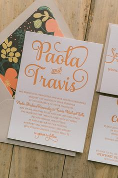 Letterpress Floral Wedding Invitations by Just Invite Me