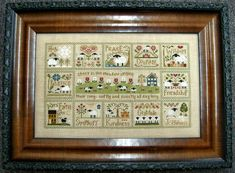 My latest stitchy finish, Little House Needleworks Sheep Virtues.  Each block was released as an individual chart and meant to be made into small pillows. I chose to stitch them as one piece and then modified a chart from Country Cottage Needleworks to fit in the center.