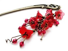 Japanese metal hair stick with red lucite acrylic flowers - floral kanzashi hairstick hairpin, hair fork, pin, hair ornament, gift for her by CarnevalMefisto on Etsy https://www.etsy.com/au/listing/205770438/japanese-metal-hair-stick-with-red