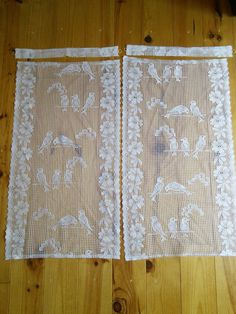 Pair French Vintage White Filet Lace Cafe by FromParisToProvence