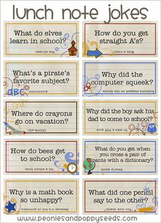 Lunch note jokes to stick in the kids' lunches!  What a fun idea... you have to go to the 2nd page on the blog to find the free download.  I downloaded these 8 jokes, and then that gave me a great template to make more... Sarah loves telling jokes, so I will be doing this for Kindergarten!  I LOVE it!