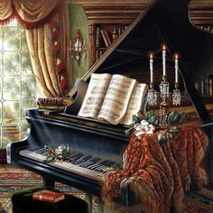 ❤ cozy piano painting...