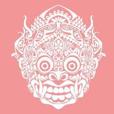 Balinese barong mask by torikpresto Mask Tattoo, 1 Tattoo, Doodles Zentangles, Blackwork, Barong Bali, Balinese Tattoo, Dragons, Mask Drawing, Art Asiatique