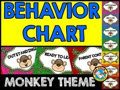 JUNGLE THEME BEHAVIOR CLIP CHART FEATURING MONKEYS  Monitor each child's behavior in your class by using this fun monkey themed behavior clip chart. A great behavior management tool to encourage kids to stay on their best behavior!  Simply print, laminate and tape/attach all the sections together vertically. Place clothes pins with each child's name on 'READY TO LEARN'. Move the pins up or down according to each child's behavior.