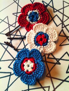 Crochet Daisy Flower Hair Pins Red White & Blue by CatWomanCrafts, $12.00