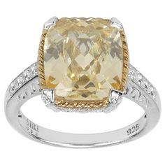 MARC 14k Yellow Gold Overlaid Sterling Silver Canary Cubic Zirconia Ring | Overstock.com Shopping - The Best Deals on Gemstone Rings