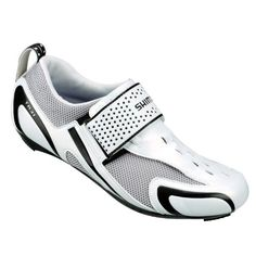 Shimano SH-TR31 Shoes White/Black, 45.0 Claimed Weight: 257 g. Closure: hook and loop straps. Upper Material: [uppers] synthetic leather, [ventilation] 3D mesh. Recommended Use: triathlon. Sole: fiberglass-reinforced polyamide.  #Shimano #Shoes