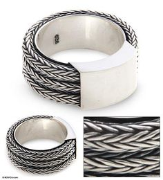 Men's Sterling Silver Band Ring - Gallant Dragon   NOVICA