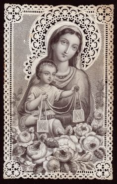 Lacy Holy Card of Our Lady of Mt. Carmel